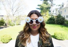 Daisy Sunglasss Dainty Gold Jewelry, Chloe Isabel, Round Sunglasses, Floral, Flowers, Daisy, Pink, Frames