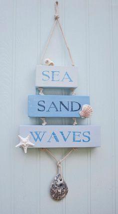 Sea Sand Waves Wooden Sign, Beach Decor, Surfer, Coastal Sign