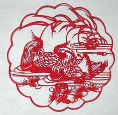 Yuanyang birds (madarin ducks) - Chinese paper cuts