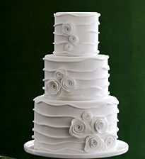 Modern round with flowers..instead of the white flower frosting put your wedding colors as flowers on your cake..