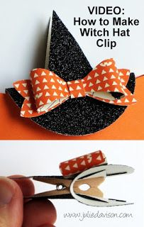 Julie's Stamping Spot -- Stampin' Up! Project Ideas by Julie Davison: VIDEO: Halloween Pillow Box Treat + Witch's Hat Clip Tutorial Dulceros Halloween, Moldes Halloween, Halloween Treat Boxes, Halloween Paper Crafts, Halloween Pillows, Halloween Goodies, Halloween Cards, Holidays Halloween, Halloween Treats