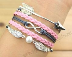 Arrows bracelet, infinity and wing bracelet, antique silver, gray line, pink leather, bridesmaid gifts