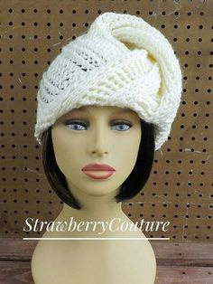Ivory Crochet Hat Womens Hat Womens Crochet by strawberrycouture