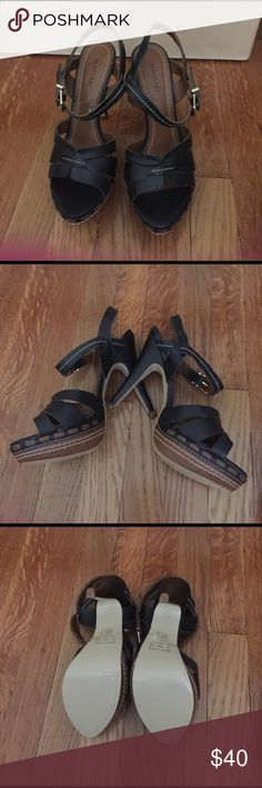 Never worn, gorgeous platform sandals! Pictures say it all. I have never worn these shoes, they are actually very comfortable because of the platform. My feet are just too thin, sadly! I am 5.5 and they fit well, just loose. Made in Brazil. Massari Shoes Sandals