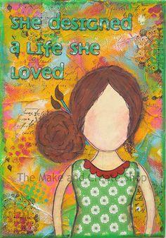 Mixed Media She Art Artist Girl
