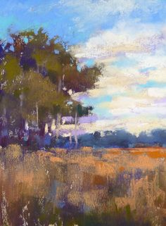 Autumn Marsh Landscape Plein Air Landscape by KarenMargulisFineArt, $145.00