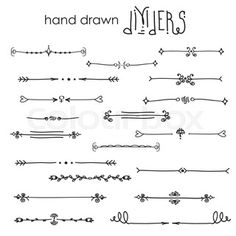 Hand drawn vector dividers, line border set and design element