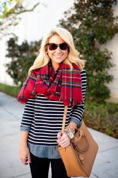 I already have this two-in-one tunic - love it with the red tartan scarf. Fall Outfits For Work, Fall Winter Outfits, Autumn Winter Fashion, Winter Style, Fall Fashion, Red Tartan Scarf, Pretty Outfits, Cool Outfits, Pretty Clothes