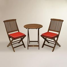 Cavallo 3-Piece Bistro Set with Red Cushions | World Market