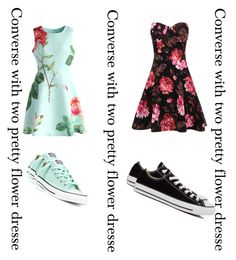 """Converse with flower dresse"" by keiabeia ❤ liked on Polyvore featuring moda, Chicwish y Converse"