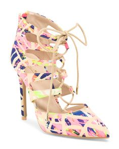 Lace Up Pointy Toe Heel