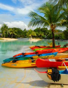Colorful kayaks in Plantation Bay, Cebu, Philippines kayak stabilizer ascend ka. Places To Travel, Places To Go, Visayas, Cebu City, Travel Channel, Philippines Travel, Jolie Photo, Historical Sites, Vacation Destinations
