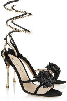 Rose-embellished suede sandals by Nicholas Kirkwood