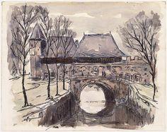 Aquarel en inkttekening van de Koppelpoort in Amersfoort, aan de stadszijde. Johan van Bijsterveld