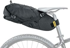 Listen to your inner voice of adventure with the Topeak Backloader. Pack up your gear, get on your bike, and ride that epic trail. BackLoader is a large capacity seat bag specially designed for bikepackers providing a streamlined way to carry gear without Pack Up, Golf Bags, Saddle Bags, Baby Strollers, Bicycle, Black, Bike Packing, Mount System, Trail