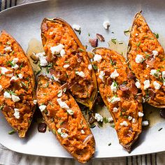 Twice-Baked Sweet Potatoes with Bacon and Goat Cheese - Sweet Potato Recipes - Sunset