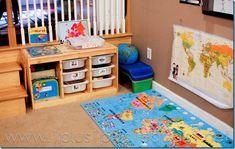 Organized Homeschool Room-IKEA shelf   1plus1plus1equals1.net