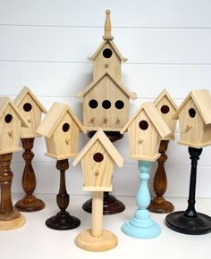 The Speckled Dog: DIY Pedestal Birdhouses *** get some old ugly candlesticks from the thrift store and glue birdhouses on top! stain, paint, and distress! love!