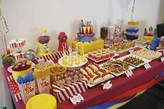 So many fun treats on this circus dessert table