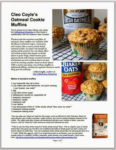 Irish Oatmeal Cookie Muffins for St. Patrick's Day from Cleo Coyle