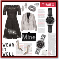 Timex Contest Entry: How will you #WearItWell this holiday season? by veroniqueleon on Polyvore featuring мода, rag & bone, Jimmy Choo, Edie Parker, Swarovski, Carolee, Timex and WearItWell