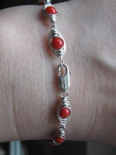 Coral Herringbone Wire Wrapped Sterling Silver Bracelet Sterling Silver Bracelets, Herringbone, Wire Wrapping, Coral, Trending Outfits, Unique Jewelry, Handmade Gifts, Shop, Etsy