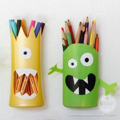 DIY Shampoo Monster Pencil Holder (via http://www.madamecriativa.com.br/posts-recentes/porta-lpis-de-monstrinho-feito-com-pote-de-shampoo)