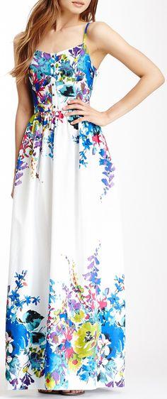 Watercolor blue floral maxi dress //