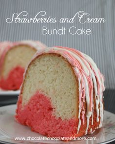 Strawberries and Cream Bundt Cake using JELL-O - Would make a cute Valentines Day dessert.
