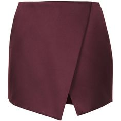 TOPSHOP Mulberry Luxe Satin Wrap Skort ($40) ❤ liked on Polyvore featuring skirts, mini skirts, bottoms, skort, shorts, mulberry, wrap mini skirt, satin mini skirt, asymmetrical skirt and purple mini skirt