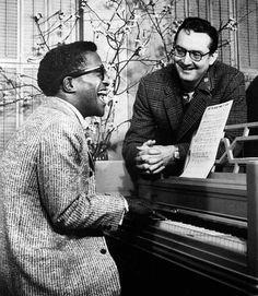 Sammy Davis, Jr. and Steve Allen rehearsing for the premiere of The Steve Allen Show in 1956.