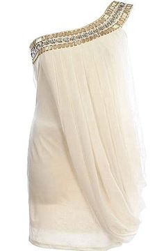 Draped Grecian Dress: Features a beautiful one-shoulder design with glittering gemstone embellishments trailing the neckline, pleated chiffon overlay wrapped around the left side of the dress, and a form-fitting white base to finish.