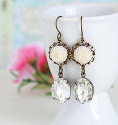 Dangle Earrings Ivory Flower Earrings Clear Vintage Jewels by JacarandaDesigns