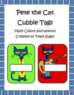 This is a Pete the Cat set of cubbie tags, Library box tags, name tags or class dcor.  There are two different Pete designs and two different sizes.  There are also two different size boxes to write your students' names.  The pattern backgrounds are Zigzag and polka dot.