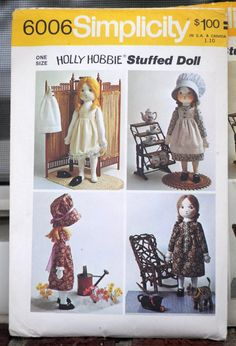 Simplicity 6006 - Holly Hobbie Rag Doll & Wardrobe - So Cute, Great Gift - Vintage Pattern -