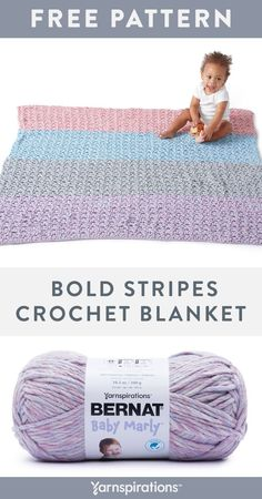 Free Bold Stripes Crochet Blanket pattern using Bernat Baby Marly Yarn. Here's a small project that gets you comfortable with simple color changes while achieving an easy-stitch design. You'll have no problem doing a 1-row repeat V-stitch pattern that also features the addition of wide sections of color change. It's an attractive addition to the nursery or playroom. #Yarnspirations #FreeCrochetPattern #CrochetBlanket #BabyBlanket #NurseryDecor #BernatYarn #BernatBabyMarly Striped Crochet Blanket, Easy Crochet Blanket, Knit Or Crochet, Crochet Hooks, Afghan Patterns, Crochet Blanket Patterns, Stitch Patterns, V Stitch, Easy Stitch
