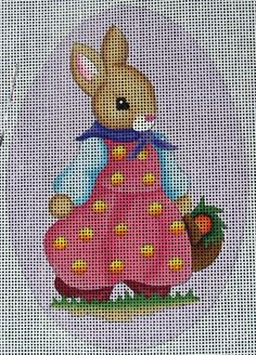 HP Needlepoint 18ct MELISSA SHIRLEY Easter Egg Girl Bunny (Purple)/Guide - PG71 #Handpainted