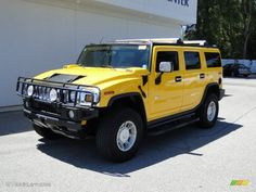 "Yellow Hummer | 2003 Yellow Hummer H2 SUV. I want one of these a long time from now when I have kids. I would much rather drive this than something that screams ""soccer mom!"""