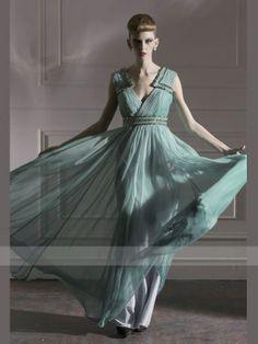 Green A-line Floor-length V-neck Backless Beading Chiffon Prom Dresses