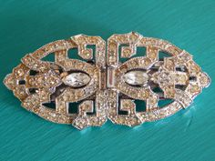 Art Deco Duet Rhinestone Brooch/ Fur Clips with by Auntiquarian, $42.00