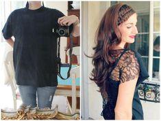 DIY Elbow Patches DIY Lace T-Shirt Refashion