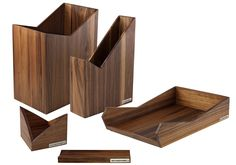 Schreibtisch-Set SKRIPT Nussbaum-Holz 5-teilig von NATUREHOME | NATUREHOME