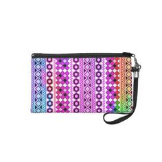 Andes #Abstract #Aztec Pattern Neon Teal Purple #Wristlet bag