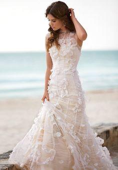 Floral ivory lace beach wedding dress