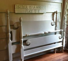 Vintage Bed Painted Gray with Distressing - Painted Furniture, Painted Bed, Full, Double Bed, Bedframe on Etsy, $295.00