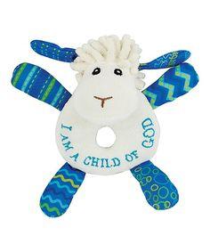 White & Blue Levi the Little Lamb Plush Rattle