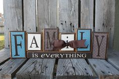 Family is everything Home Wood Block Set Gift Seasonal Wedding Birthday Personalized Unique Decor