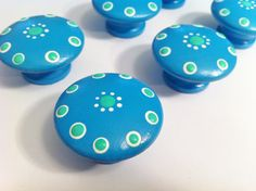 Hand Painted Dresser Knobs  Turquoise and by TheLittleNursery, $5.50