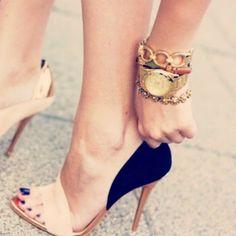 Nude  black heels