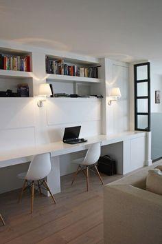 Een mooie werkplek in de woonkamer
